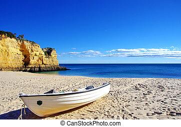 algarve, sand., 小船, 釣魚, portugal.