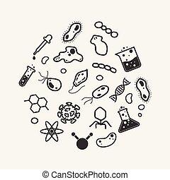 algas, micro, jogo, ciência, flatworm, ilustração, vírus, ...
