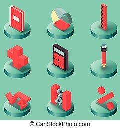 Algebra color isometric icons