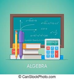 algebra, matematica, scienza, educazione, concetto, vettore, manifesto, in, appartamento, stile, disegno