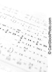 Macro shot of some algebraic math problems. Shallow depth of field.