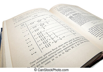 algebraic old math book used for the study in schools isolated with clipping path