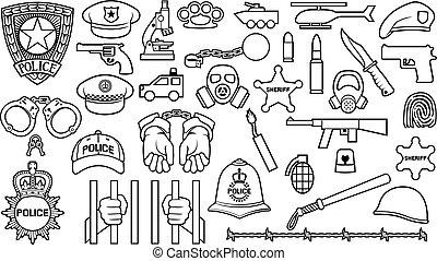 algemas, jogo, corrente, revólver, bullet), máscara, car, fio, capacete, polícia, xerife, ícones, bomba, (british, magra, farpado, estrela, morcego, gás, chapéu, mãos, linha, escudo, bobby, oficial, shackle, helicóptero