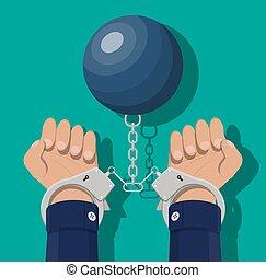 algemas, mãos humanas, ball., peso