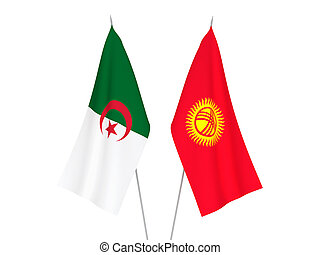 Algeria and Kyrgyzstan flags - National fabric flags of ...