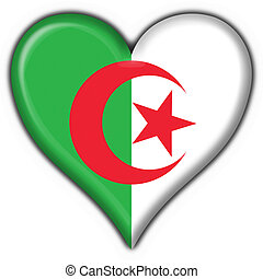 Algeria button flag heart shape - 3d made