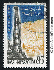 ALGERIA CIRCA 1962: stamp printed by Algeria, shows Oil field Hassi Messaoud, circa 1962