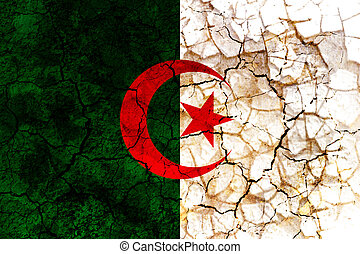 algeria country flag painted on a cracked grungy wall