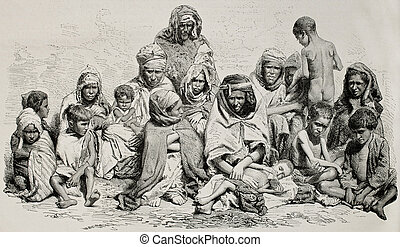 Algeria famine - Antique illustration of poor and needy...