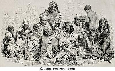 Algeria famine - Antique illustration of poor and needy...