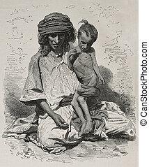 Algeria famine bis - Antique illustration of undernourished...