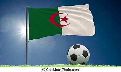 Algeria flag fluttering and football rolls - Flag of Algeria...