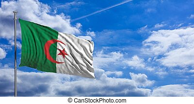Algeria flag on a blue sky background. 3d illustration