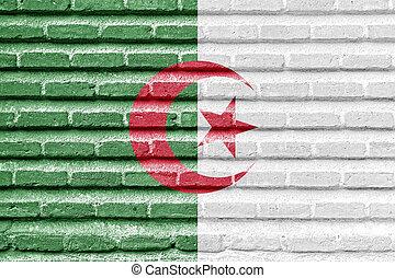 Algeria flag on an old brick wall
