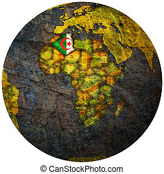 algeria flag on globe map - algeria territory with flag on...
