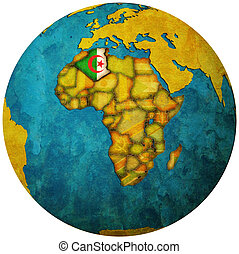 algeria flag on globe map