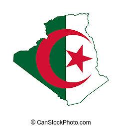 Algeria flag on map