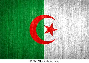 Algeria Flag on wood background
