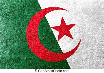 Algeria Flag painted on leather texture