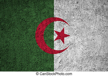 Algeria flag painted on the cracked grunge concrete wall