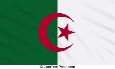 Algeria flag waving cloth, background loop - Algeria flag...