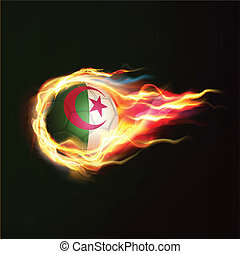 Algeria flag with flying soccer ball on fire isolated black background, vector illustration