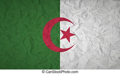Algeria flag with the effect of crumpled paper and grunge