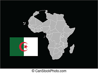 Algeria map and flag