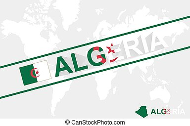 Algeria map flag and text illustration