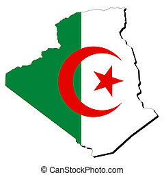Algeria map flag - map of Algeria with their flag...