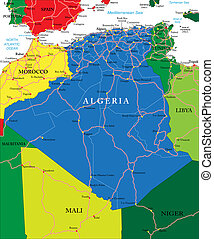 Algeria map - Highly detailed vector map of Algeria with...