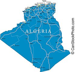 Algeria map - Highly detailed vector map of Algeria with ...