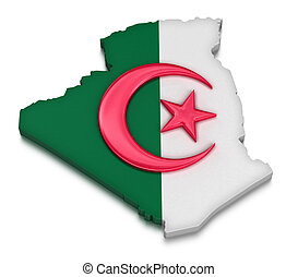 Algeria - Map of Algeria. 3d render Image. Image with...