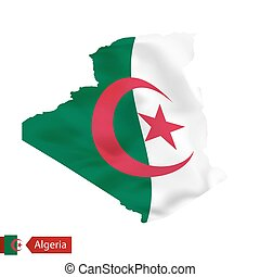 Algeria map with waving flag of country.