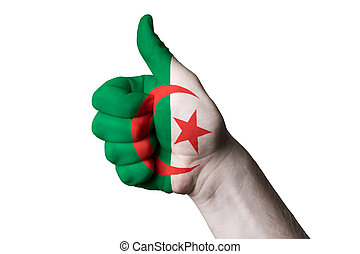 algeria national flag thumb up gesture for excellence and achiev