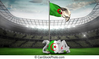 Algeria national flag waving in football stadium with 2014...