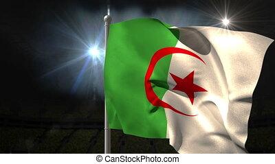Algeria national flag waving on flagpole on black background...