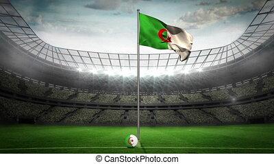 Algeria national flag waving on fla - Algeria flag national...