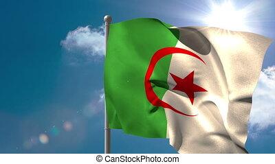 Algeria national flag waving on flagpole on blue sky...