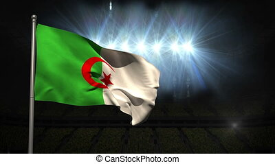 Algeria national flag waving on flagpole on black background...