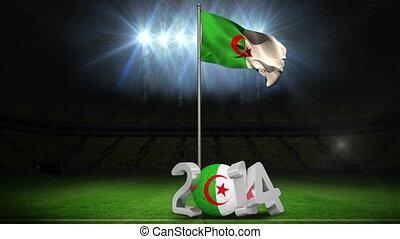 Algeria national flag waving on football pitch on black...