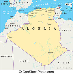 Algeria Political Map - Political map of Algeria with the...
