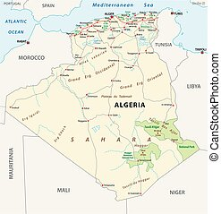 algeria road and national park vector map