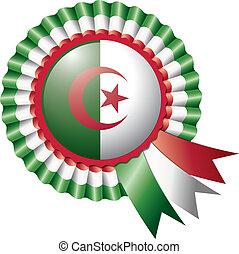 Algeria rosette flag - Algeria detailed silk rosette flag,...