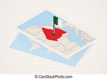 Algeria selected on map with 3D flag of Algeria.
