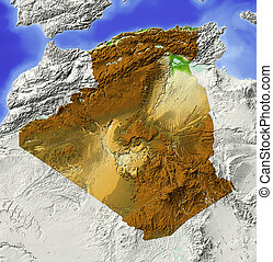 Algeria, shaded relief map - Algeria. Shaded relief map....
