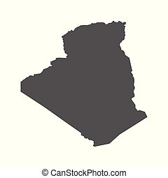 Algeria vector map. Black icon on white background.