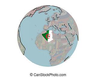 Algeria with flag on globe