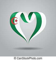 Algerian flag heart-shaped ribbon. Vector illustration. -...