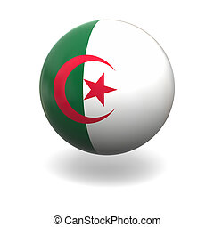 Algerian flag - National flag of Algeria on sphere isolated...